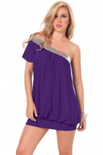 Purple Mini Dress With One Short Sleeve, Silver Sequin Neckline and Loose Bodice Over Tight Skirt