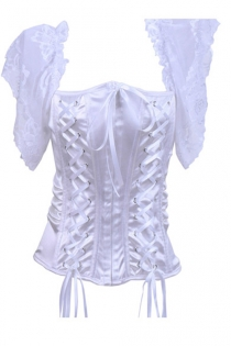 White Satin Corset Top With Twin Lace-up Front Panels and Sheer Lace Flutter Sleeves