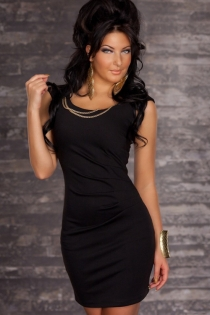 Black Mini Dress Featuring Double Gold Chains on Scoop Neckline and Low Back Zipper