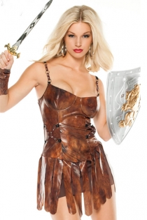 Invigorating Female Warrior Inspired Style With Glossy Dark Rusty Spaghetti Strap Metal Accents and Medium-Sized Cut Lower Strips