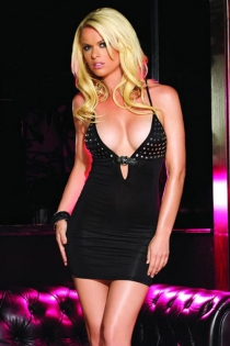 Black Mini Dress With Silver Sequin Bust, Buckle Underbust and Criss Cross Back Spaghetti Straps