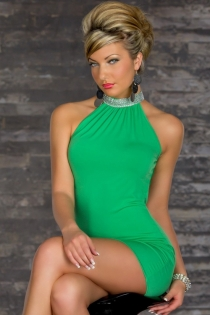 Elegant Green Mini Dress With Rhinestone Turtle Neck, Cowl Back and Bodycon Skirt