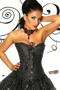 Black Victorian Steel Boned Corset Top With Brocade Pattern, Ruched Trim, Front Busk