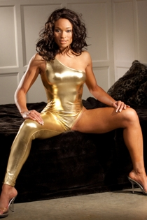 Glimming Gold Bodysuit With One Shoulder and Corresponding Long Tight Pant Leg