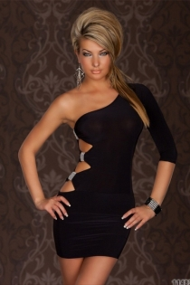 Black Bodycon Mini Dress, One-shoulder With 3/4 Sleeve and Cut-out Sides Studded With Rhinestones