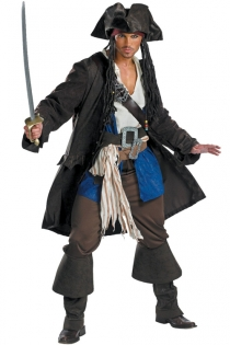 Jack Sparrow Inspired Look Knee Long Lonsleeve Black Blazer Dirty White Top Brown Pants Blue Fabric Accent