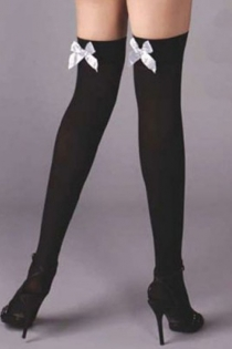 Semi-Sheer Black Thigh-High Stockings With White Satin Bows on Welt Backs