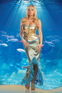 Dazzling Gold Nicely Center Wrinkled Strapless Knee Length Center Lower Front Cut With Sea Blue Ruffles and Net Sequence Mermaid Design