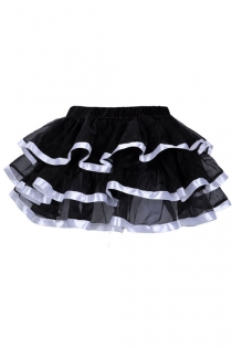 Exquisitely Black Layered Ruffles Light Gauzy Mini Skirt With Glossy Solid White Lining