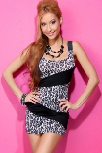 Black Mini Dress With Black-and-White Leopard Print and Solid Band Front Design