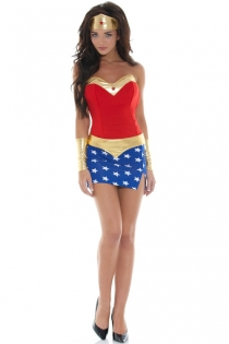 Gorgeous Wonder Woman Perfectly Red Gold Pleated Edges Tight Body Fit and Hot Small Side Slit Royal Blue Star Printed Skirt