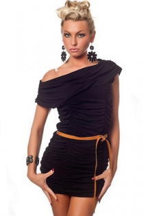 Black Mini Dress With Ruched Bodice, Off-shoulder Foldover Neckline and Camel Belt