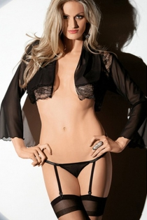 Flirtatious Sheer Black Longsleeve With Lace Sequence Teasing Underwear Hook Strap Stocking