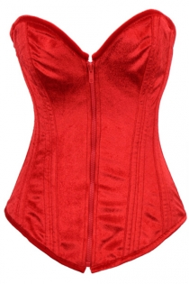 Intimate Fiery Red Corset With Velvety Texture, Sweetheart Neckline and Red Zipper