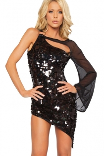 Dazzling Black Sequin Mini Dress With Toggle Strap, Chiffon Angel Sleeve and Assymetrical Hem
