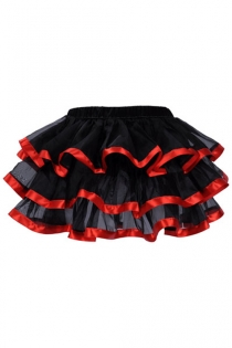 Exquisitely Black Layered Ruffles Light Gauzy Mini Skirt With Glossy Solid Red Lining