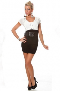 Combo Bodycon Dress With Black Skirt With Belt and White Ruffle Shirt With Puff Sleeves