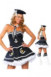 Teasing Navy Lady Dark Tight Fit Bodice Bloomed Mini Skirt With White Sequence Anchor Star Accents