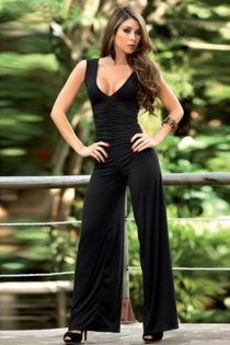 Wide Leg Black Jumpsuit With Wide Straps, Plunging Neckline and Ruched Bodice