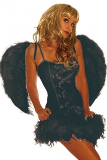 Dark Greyish Angel Spaghetti Strap Crisscrossed Center Accent Tight Body Fit Featherlike Lower