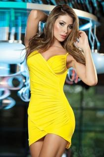Essential Yellow Mini Dress With Surplice Neckline, Cross-over Hem and Spaghetti Straps