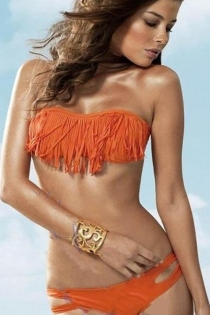 Exotic Fringed Orange Bandeau and Cut-out Side Bikini Bottom
