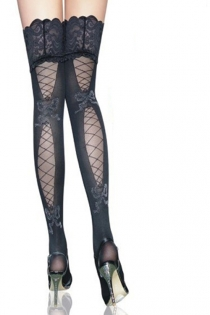Midnight Black Semi-Sheer Thigh-High Stockings With Lace and Fishnet Back Detail and Seamed Lacy Ruffled Welts