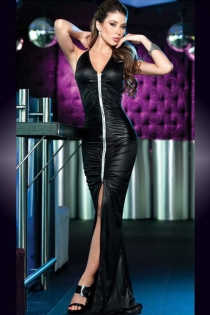 Black Maxi Halter Gown With Wet Satin Look, Ruched Bodice and Silver Strip Bust to Thigh Split