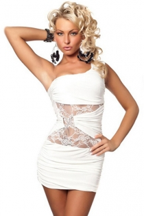 One-shoulder White Mini Dress With Sheer Lace Midriff Under Rhinestone Toggle
