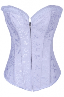 White 12 Steel Boned Victorian Corset With Floral Brocade Pattern and Bust Ruched Trim, Steel Boned, Front Zipper
