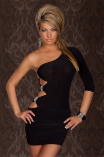 Ultra-Sexy Black One-Shoulder Bodycon Dress With Side Cut-Outs and Silver Brooch Detail