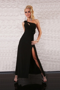 Interesting High Left Slit Charming Right Shoulder Strap Teasing Top Mini Cut Long Gown