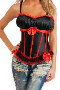 Black Twin Button Corset With Comfortable Bust, Red Lace Trim, Bows and Ribbons, and Removable Straps