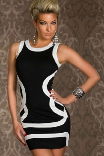 Black Bodycon Pencil Mini Dress With White Trim and Elegant White Patterning