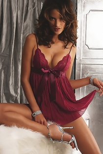 Burgundy Pleated Babydoll With Lacy Bust, Satin Ribbon Empire Waist and Spaghetti Straps