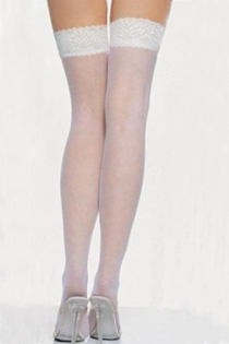 Sheer White Thigh-High Stockings With Silicon Lacy Welts