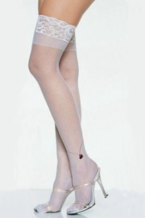 Semi-Sheer White Thigh-High Stockings With Silicon Lacy Welts and Shadow Welts