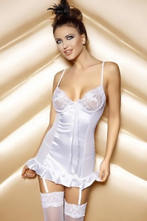 White Chiffon Babydoll With Lacy Bust, Satin Front and Hem and Lace-up Back and Suspender Hooks