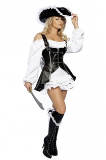 White Alluring Off Shoulder Ruffled Longsleeve Black Velvet Flirtatious Overlayer Tight Fit Garment