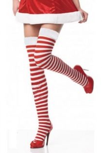 Christmas Holiday Thigh-High Stockings With Red and White Horizontal Stripes