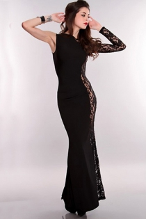 Entrancing Dark Long Gown With Exciting Partly Sheer Right Side Floral Longsleeve