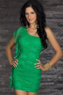 Green Lace Bodycon Dress, Lined, With One-shoulder Flutter Sleeve and Ruffle Side Fringe