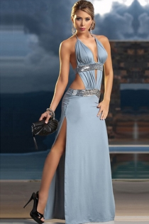 Elegant Ice Blue Maxi Gown With Extreme-V Halter Neckline, High and Low Rise Silver Sequin Bands and Thigh Splits