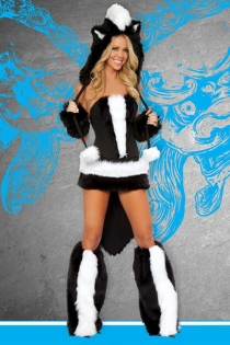 Tempting Black and White Furs Design Mini Tight Fit Bodice With Gorgeous Skimpy Skirt