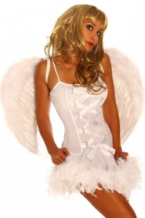 Spotless White Angel Spaghetti Strap Crisscrossed Center Accent Tight Body Fit Featherlike Lower