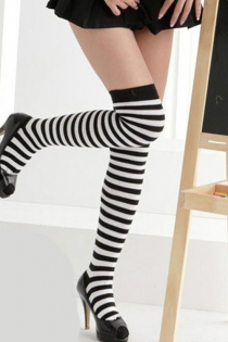 Witchy Black-and-White Striped Thigh-High Stockings With Narrow Black Welts