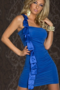 Blue Strapless Bodycon Clubwear Mini Dress With Full-Length Ruffled Satin Detailing