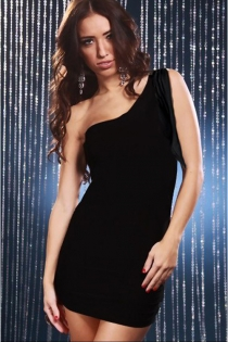Essential Little Black Dress With Bodycon Bodice and One-shoulder Slashed Fringe Sleeve