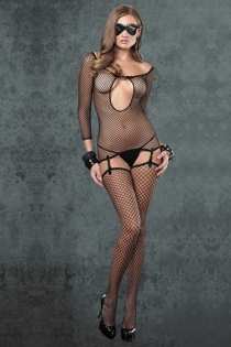 Black Long-Sleeved Fishnet Bodystocking With Suspender Attached Thigh-Highs, Cut-out Bust and Scoop Neck