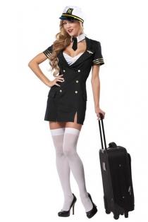 Charming Flight Stewardess Inspired Stylish Look Deep Plunge Gold Arm Round Strips Black Blazer Dress With White Top Underlayer